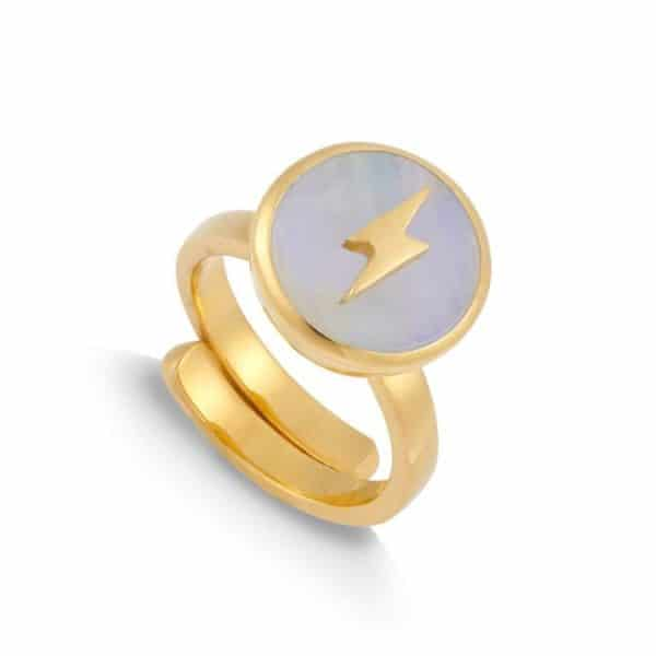 18ct gold plated silver adjustable band ring with round rainbow moonstone and lightning bolt, by SVP Jewellery.