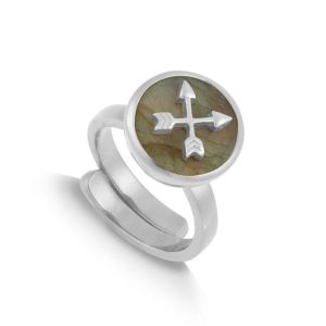Sterling silver adjustable band ring with round labradorite and silver arrows, by SVP Jewellery