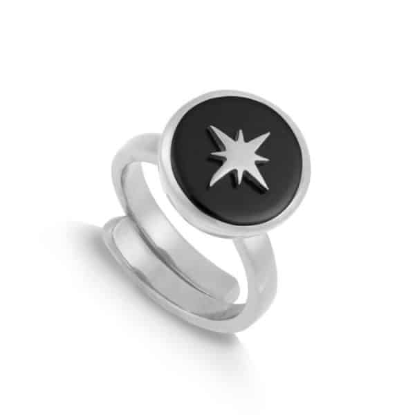 Sterling silver adjustable band ring with round black quartz gemstone and silver star, by SVP Jewellery.