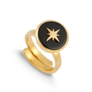 18ct gold plated silver adjustable band ring with round black quartz and star, by SVP Jewellery.