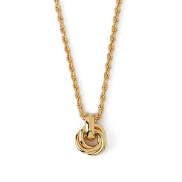 Gold plated brass rope chain necklace with interlocking rings charm, by Orelia London