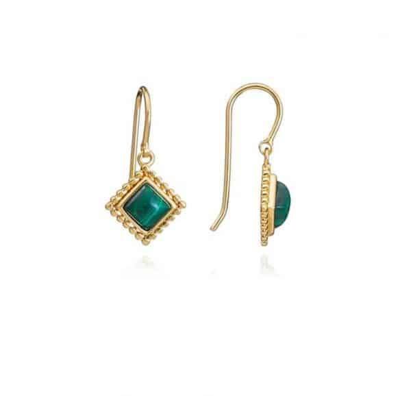 22ct gold plated brass diamond drop earrings with malachite gemstones and beading detail, by Azuni London