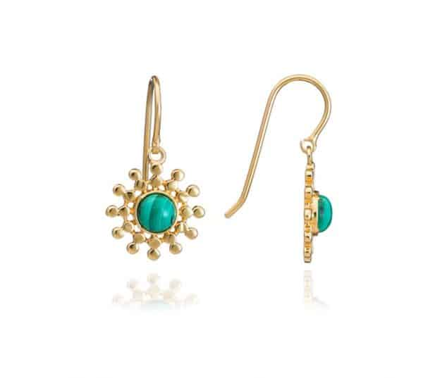 22ct gold plated brass sun drop earrings with beading details and malachite gemstones, by Azuni London.