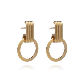 22ct gold plated sterling silver drop earrings with front facing circle hoop hanging from an art-deco inspired ridged stud, by Rachel Jackson