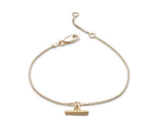 22ct gold plated sterling silver chain bracelet with mini t-bar charm, by Rachel Jackson