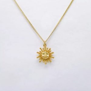 22ct gold plated sterling silver chain necklace with cute mini sun pendant, by Manom Jewellery