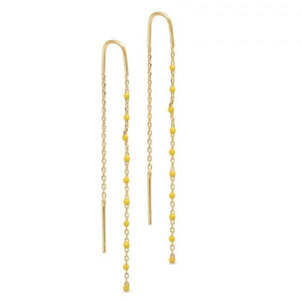 Gold plated brass chain thread earrings with tiny yellow gemstones, by Pure By Nat