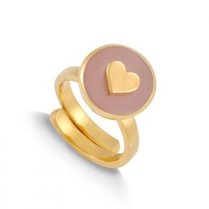 18ct gold plated sterling silver adjustable band ring with a round rose quartz gemstone and silver heart, by SVP Jewellery