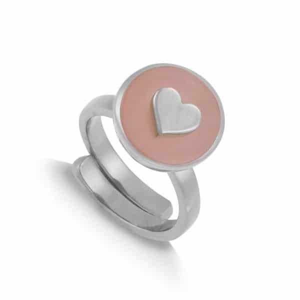 Sterling silver adjustable band ring with a round rose quartz gemstone and silver heart, by SVP Jewellery
