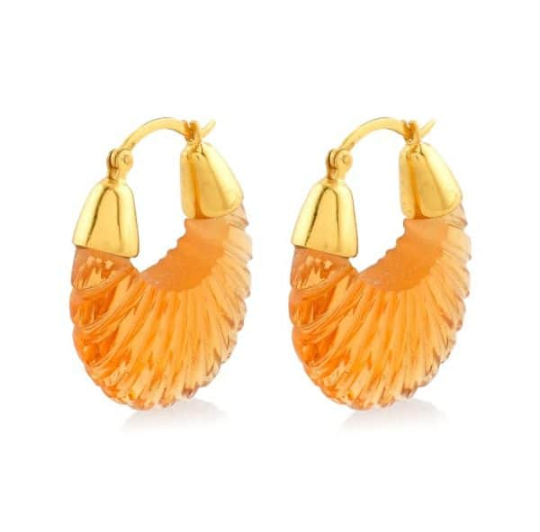 22ct gold plated sterling silver drop earrings with champagne colour glass, by Shyla Jewellery