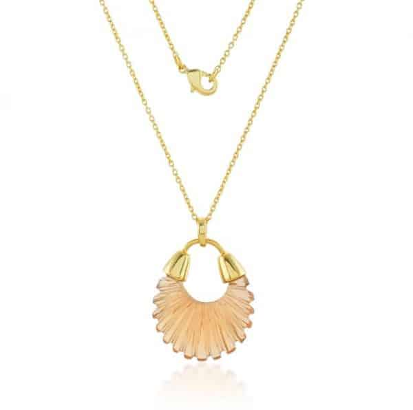 Gold plated sterling silver chain necklace with champagne coloured glass pendant, by Shyla Jewellery