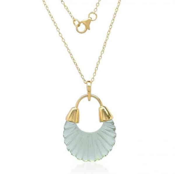 Gold plated sterling silver chain necklace with green coloured glass pendant, by Shyla Jewellery