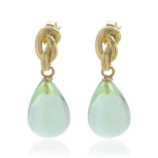 22ct gold plated silver drop earrings with a gold knot and pear shaped turquoise coloured glass drop, by Shyla Jewellery