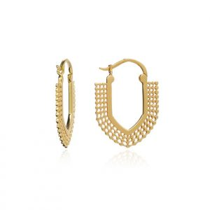 22ct gold plated brass geometric hoop earrings with beading details, by Azuni London