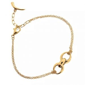22ct gold plated sterling silver chain bracelet with link pendant, by Dinny Hall