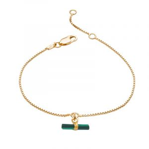 22ct gold plated sterling silver chain bracelet with mini malachite t-bar charm, by Rachel Jackson
