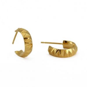 18ct gold plated sterling silve faceted hoops with a textured design, by Rosie Kent