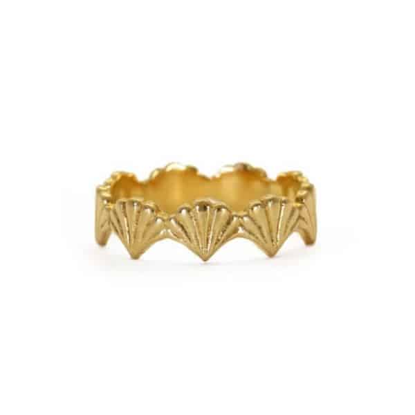 18ct gold plated sterling silver stacking ring with a textured scallop design, by Rosie Kent
