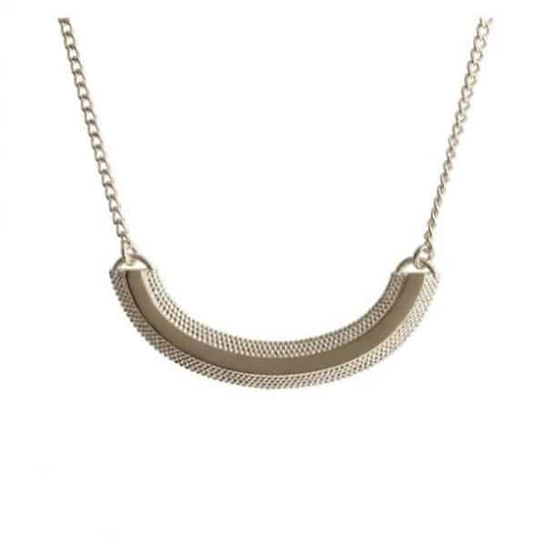 Sterling silver chain necklace with a textured curve pendant, by Rosie Kent