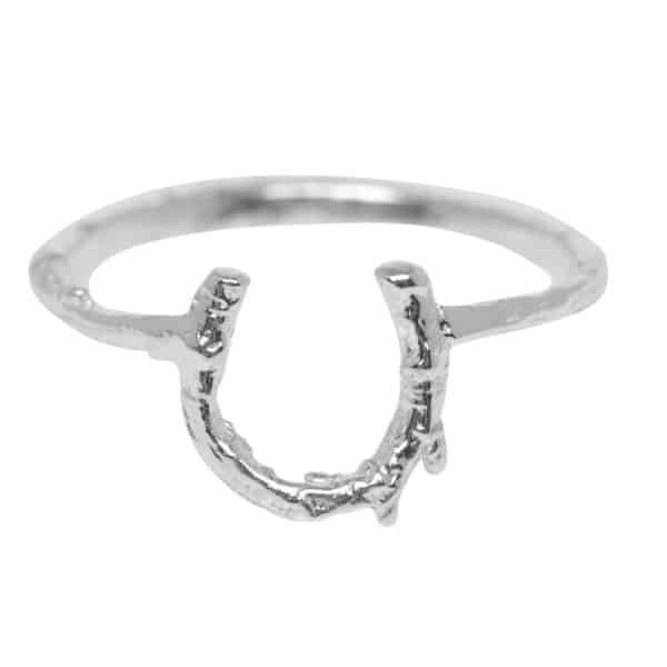 Sterling silver horseshoe ring with a textured band, by Alex Monroe