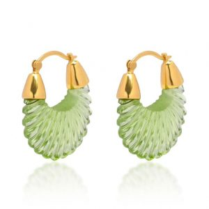 22ct gold plated sterling silver drop earrings with green colour glass, by Shyla Jewellery