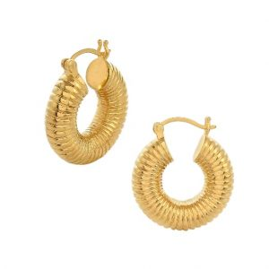 22ct gold plated sterling silver chunky hoop earrings with a hand carved ribbed design across the hoop, by Shyla Jewellery