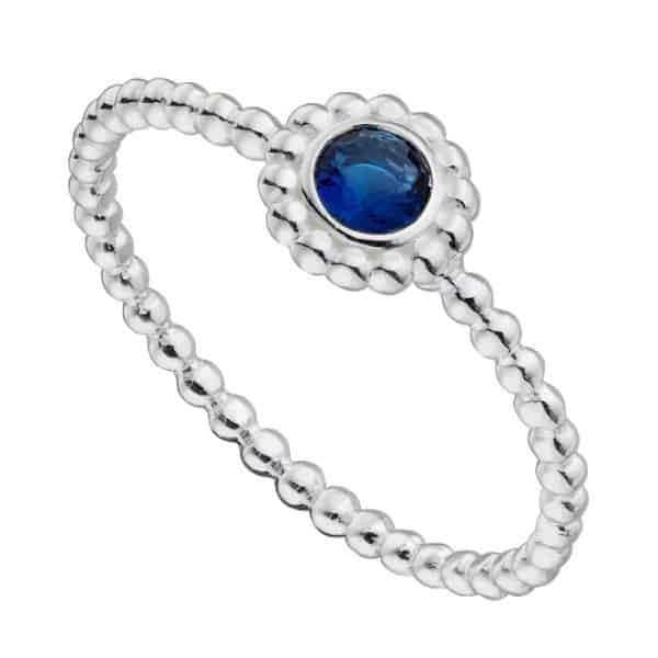 Sterling silver bobble ring with a round blue crystal stone