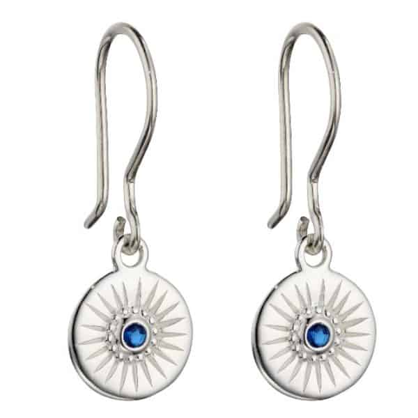 Sterling silver disc drop earrings with a small sapphire blue crystal