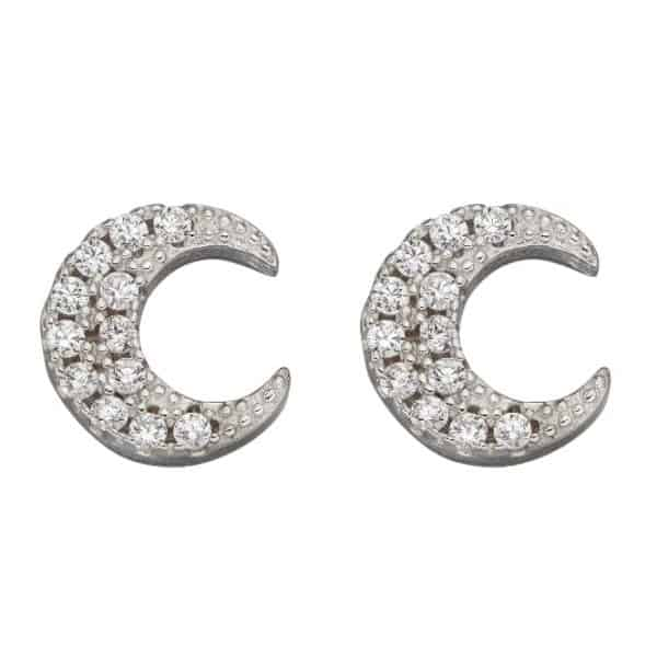 Sterling silver crescent moon shaped stud earrings with small cubic zirconia stones
