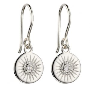 Sterling silver disc drop earrings with a small cubic zirconia crystal