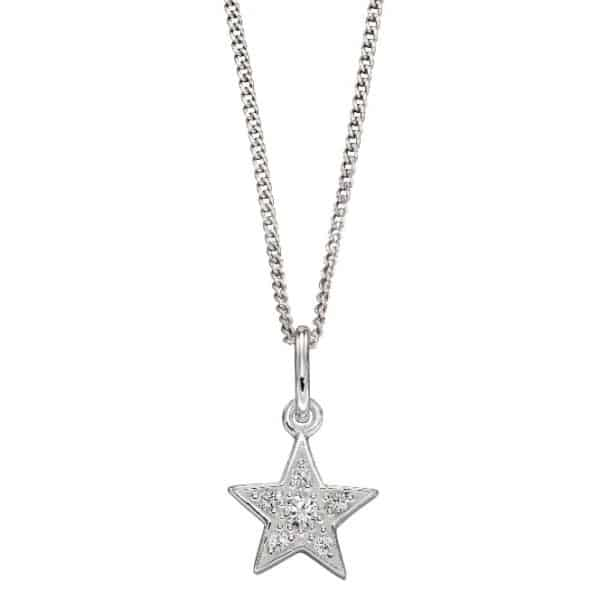Sterling silver mini star pendant with small cubic zirconia stones