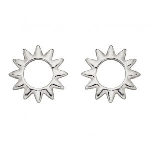 Sterling silver cut-out stud earrings in the shape of a sun