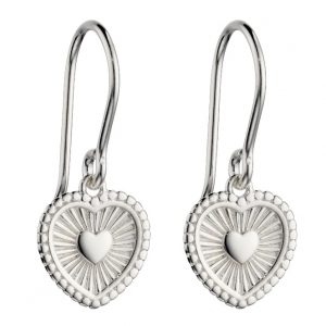 Sterling silver heart drop earrings with an engraved sunray design