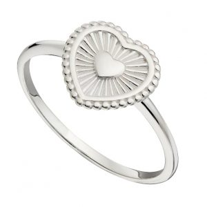 Sterling silver band ring with a heart shaped face and an engraved sunrays design