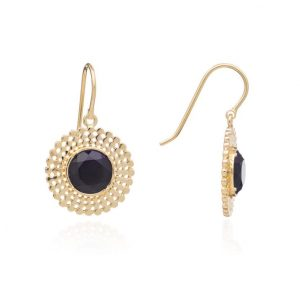 24ct gold plated brass drop earrings with a round black onyx gemstone surrounded by a gold trim, by Azuni London