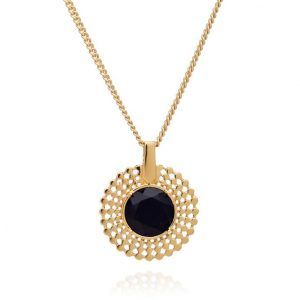 24ct gold plated brass chain necklace with a pendant featuring a round black onyx gemstone set in a gold trim edge, by Azuni London