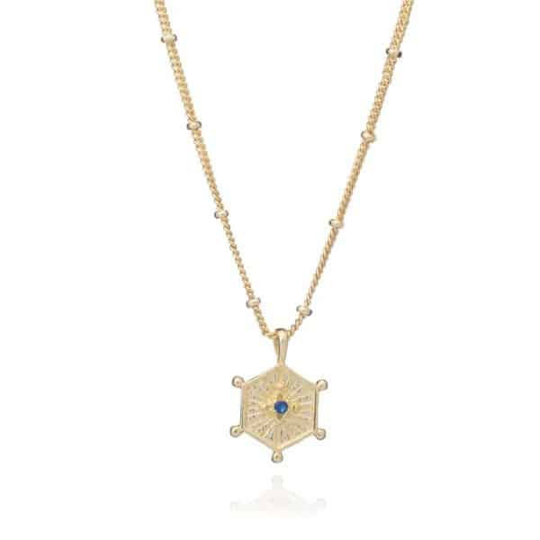 24ct gold plated brass satellite chain necklace with a hexagon shaped pendant with a small iolite gemstone in the middle, by Azuni London