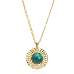 24ct gold plated brass chain necklace with a pendant featuring a smooth round malachite gemstone set in a gold trim edge, by Azuni London
