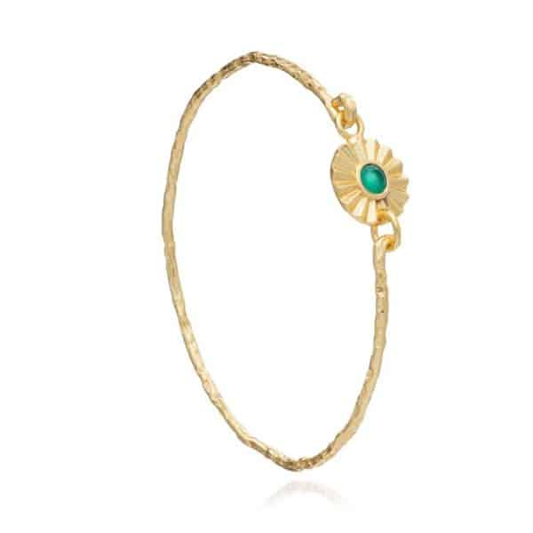 24ct gold plated brass sprung bangle with a round green onyx gemstone set in a scalloped edge coin charm clasp, by Azuni London