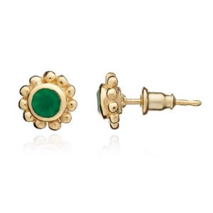24ct gold plated brass stud earrings with a round green onyx gemstone set in a gold trim, by Azuni London