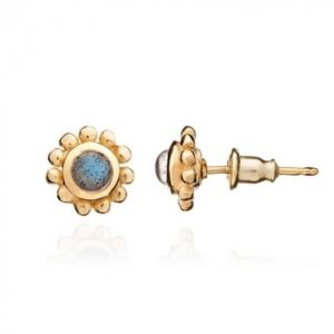 24ct gold plated brass stud earrings with a round labradorite gemstone set in a gold trim, by Azuni London
