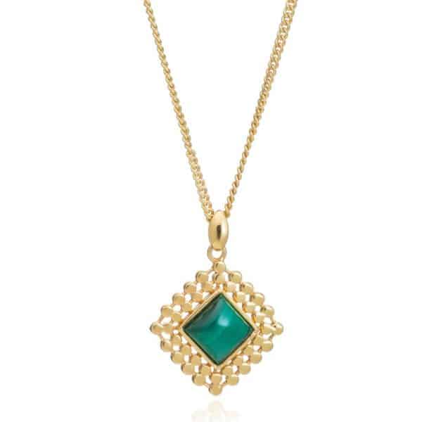 24ct gold plated brass chain necklace with a diamond shaped malachite pendant set in a gold trim edge, by Azuni London