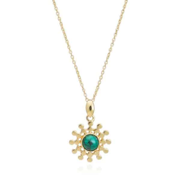 24ct gold plated brass chain necklace with a sun drop pendant featuring a round malachite gemstone in a gold trim, by Azuni London