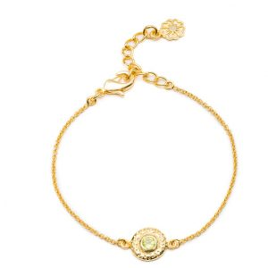 24ct gold plated brass chain bracelet with a round peridot gemstone set in a textured disc charm, by Azuni London