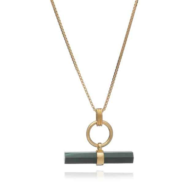 22ct gold plated sterling silver box chain necklace with a hexagon shaped malachite t-bar hanging from a polished ring, by Rachel Jackson