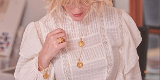 Rachel Jackson British Jewellery Designer wearing jewellery from her collection