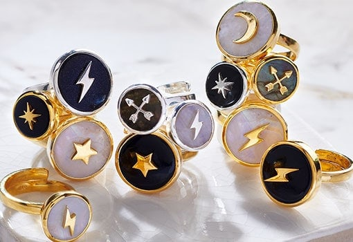 A range of silver and gold SVP adjustable gemstone rings