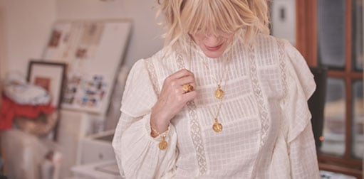British jewellery designer rachel jackson wearing jewellery from her collection