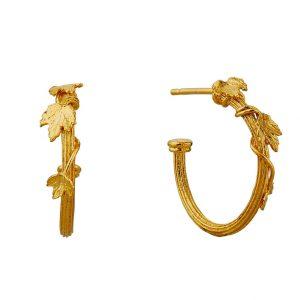 Gold column hoop earrings by Alex Monroe