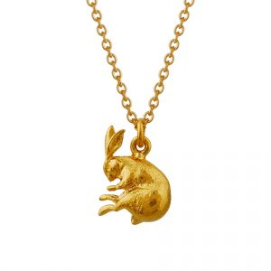 gold plated sleeping hare necklace by Alex Monroe